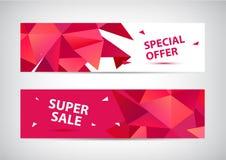 传染媒介套雕琢平面的3d形状销售横幅 网的,广告,小册子,飞行物用途 免版税图库摄影