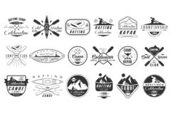 传染媒介套coldwater俱乐部的单色商标 独木舟阵营象征 极其水上运动 漂流徽章的葡萄酒 皇族释放例证