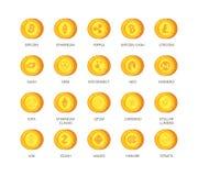 传染媒介套Cryptocurrency象 名列前茅根据blockchain technologie与bitcoin有关和的20个标志隐藏 免版税库存照片