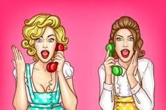 传染媒介妇女在电话,激动的主妇谈话 向量例证