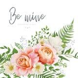 传染媒介婚礼邀请,与花卉watercol的贺卡设计 向量例证