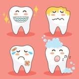传染媒介字符愉快和滑稽的牙集合 例证乱画图画逗人喜爱的设计牙 向量例证