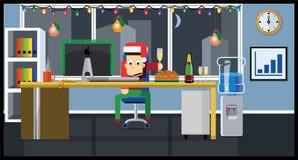 传染媒介字符 新年在办公室 平的样式 库存例证