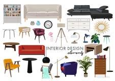 传染媒介室内设计例证 时髦的家具 免版税库存图片