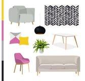 传染媒介室内设计例证 时髦的家具 免版税库存照片
