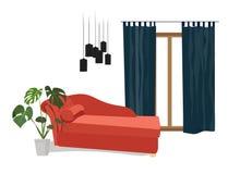 传染媒介室内设计例证 时髦的家具 库存照片