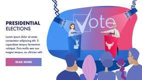 传染媒介小组选民观看的辩论候选人 向量例证