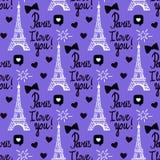 传染媒介巴黎我爱你无缝的样式 递画的黑色套埃佛尔铁塔,题字在上写字 皇族释放例证