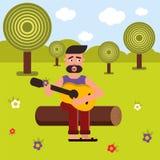 传染媒介平的例证,样式动画片 一个人坐日志并且弹吉他,唱歌曲 自然和野餐 库存图片