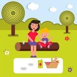 传染媒介平的例证,样式动画片 在野餐的年轻愉快的家庭 妈妈和孩子坐日志 图库摄影