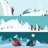 传染媒介平的横幅套冰登山人 库存照片