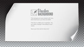 传染媒介弯曲的纸横幅 白色弯曲了纸,水平的横幅,隔绝在透明 纸可实现的向量 库存例证
