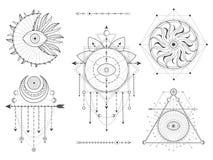 传染媒介成套工具在白色背景的神圣的几何和自然标志 抽象神秘主义者签署汇集 黑线性形状 向量例证