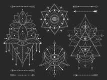 传染媒介成套工具在黑背景的神圣的几何和自然标志 抽象神秘主义者签署汇集 白色线性形状 库存例证