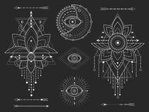 传染媒介成套工具在黑背景的神圣的几何和自然标志 抽象神秘主义者签署汇集 库存例证