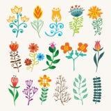 传染媒介手凹道葡萄酒花卉设计元素 开花装饰元素 装饰集合的花卉元素 向量例证