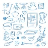 传染媒介手拉的厨房器物乱画象设置了例证 库存例证
