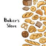 传染媒介手拉的色的面包店元素 免版税库存照片