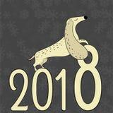 传染媒介手拉的达克斯猎犬 新年的标志2018年 库存照片