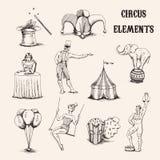 传染媒介手拉的马戏元素集 杂技演员、大象、玉米花、baloons、被隔绝的cilinder帽子和魔术鞭子  库存照片