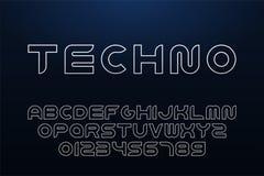 传染媒介技术等高字体 概述英语字母表 拉丁字母和数字-数字minimalistic设计 皇族释放例证