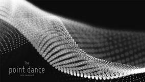 传染媒介抽象单色微粒波浪,点列阵,浅景深 未来派例证 技术 皇族释放例证
