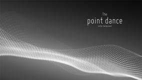 传染媒介抽象单色微粒波浪,点列阵,浅景深 未来派例证 技术 库存例证