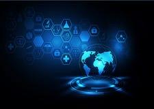 传染媒介抽象背景地球和医疗健康 向量例证