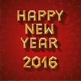 传染媒介新年快乐的例证概念多角形样式的 在红色背景的金子 皇族释放例证
