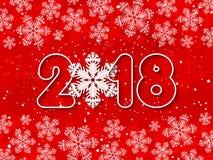 传染媒介新年快乐2018红色纸被删去的背景 库存图片