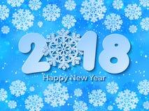 传染媒介新年快乐2018蓝纸被删去的背景 库存照片