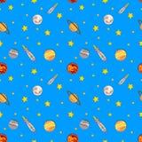 传染媒介无缝的五颜六色的波斯菊样式、太空飞船、星和行星 向量例证