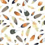 传染媒介无缝的样式,与羽毛的纹理在透明背景 摘要,幻想印刷品 自然颜色 软的颜色 向量例证