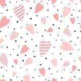 传染媒介无缝的桃红色样式心脏装饰品装饰了黑圆点装饰品爱背景情人节印刷品 向量例证