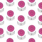 传染媒介无缝的patttern背景套在减速火箭的样式的美丽的手拉的花 与线艺术的花卉图画 库存例证