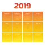 传染媒介日历-年2019年 星期从星期天开始 简单的平的传染媒介例证 皇族释放例证