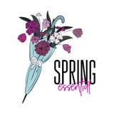 传染媒介春天根本例证 美丽的花束花 在伞招标浪漫印刷品的花 郁金香自然开花f 免版税库存图片