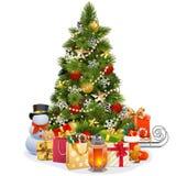 传染媒介有诗歌选的圣诞节松树 皇族释放例证