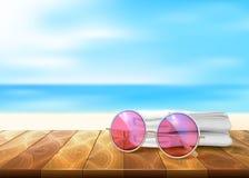 传染媒介木地板海滩海边太阳镜毛巾 库存例证
