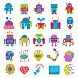 传染媒介机器人技术设计未来派孩子平的小儿童靠机械装置维持生命的人机器人字符型计算机科学未来 库存照片