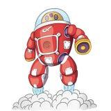 传染媒介机器人 动画片样式 在白色背景的被隔绝的传染媒介机器人 Alphabot_01 免版税库存照片