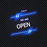 传染媒介标志:进来,我们是开放,发光的霓虹字法,隔绝在透明背景 向量例证