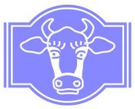 传染媒介标签的,被发酵的奶制品母牛商标 ?? 库存例证