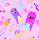 传染媒介样式冰淇淋桃红色和紫色 皇族释放例证