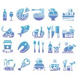 传染媒介梯度套平的象和元素关于食物和饮料烹调网餐馆菜单的 免版税库存照片