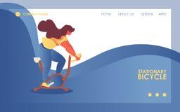 传染媒介概念健身房横幅或登陆的页模板与年轻女人字符骑马锻炼脚踏车 在背景的蓝色波浪 库存例证