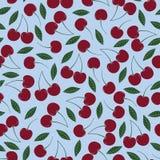 传染媒介樱桃重复无缝的样式 与叶子的葡萄酒红樱桃在浅兰的背景 皇族释放例证