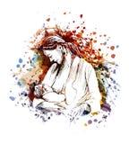 传染媒介母亲和婴孩的彩色插图 库存图片