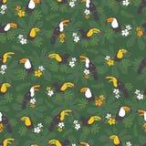 传染媒介深绿热带生日宴会无缝的样式背景 toucan鸟 为织品完善,scrapbooking, 皇族释放例证