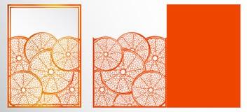 传染媒介激光裁减模板卡片 与se的抽象自然样式 免版税库存图片